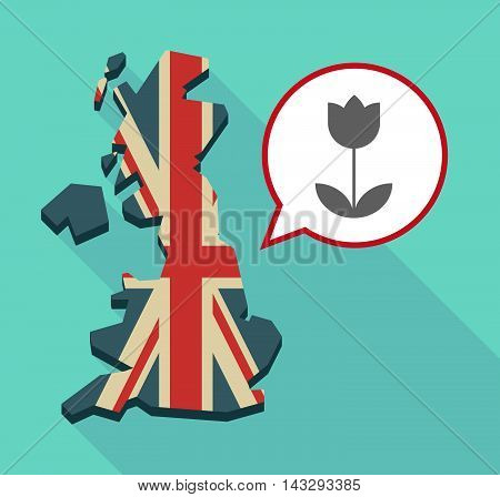 Long Shadow United Kingdom Map With A Comic Balloon And A Tulip