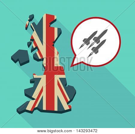 Long Shadow United Kingdom Map With A Comic Balloon And Missiles