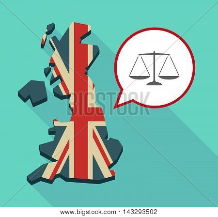 Long Shadow United Kingdom Map With A Comic Balloon And A Justice Weight Scale Sign