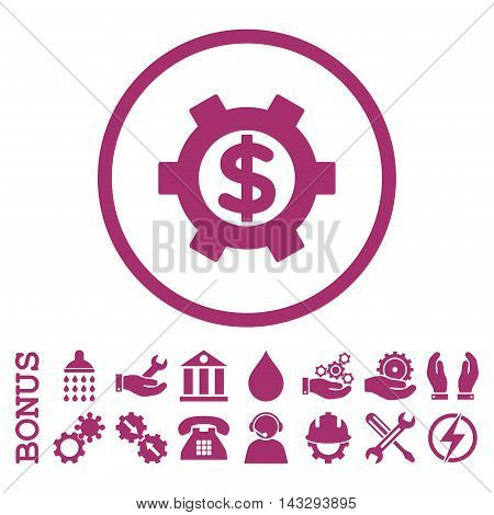 Financial Settings glyph icon. Image style is a flat pictogram symbol inside a circle, purple color, white background. Bonus images are included.