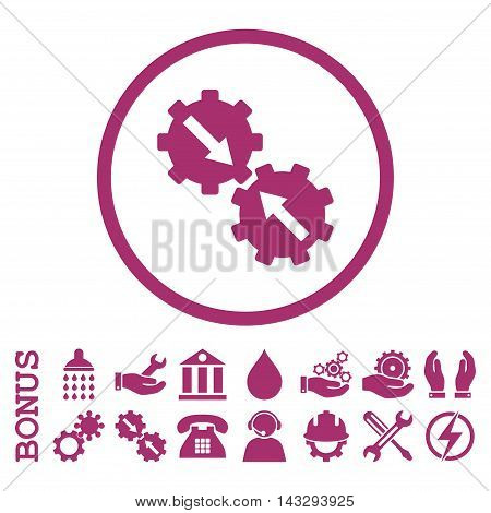 Gear Integration glyph icon. Image style is a flat pictogram symbol inside a circle, purple color, white background. Bonus images are included.
