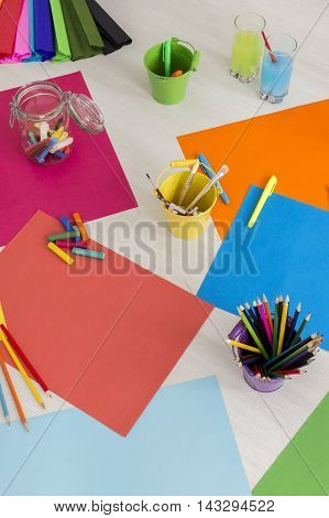 Colorful Paper On Table