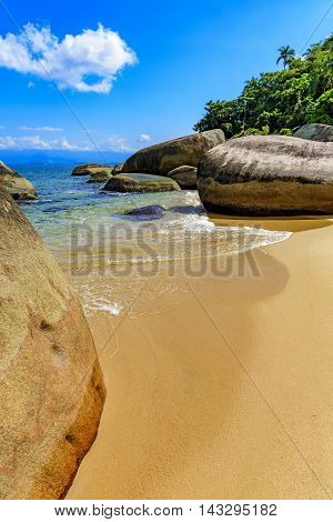 Deserted and unspoilt beach of Itaguacu in Ilha Grande Angra dos Reis Rio de Janeiro with its limpid and transparent waters that meet the rainforest