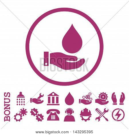 Water Service glyph icon. Image style is a flat pictogram symbol inside a circle, purple color, white background. Bonus images are included.