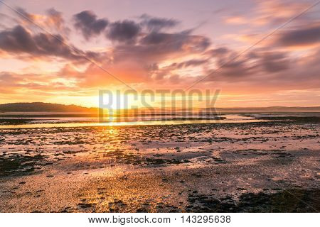 long exposure sunset over river almond estuary scotland