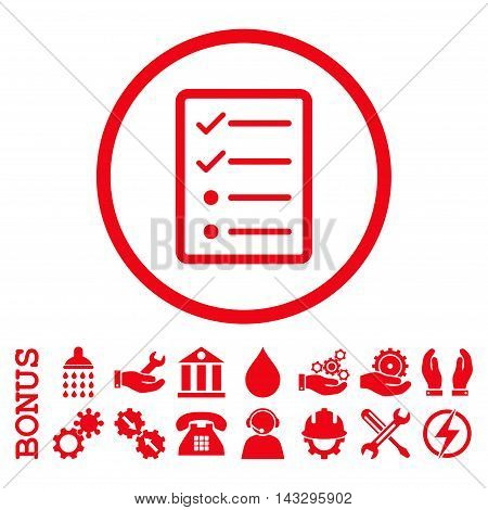 Checklist Page glyph icon. Image style is a flat pictogram symbol inside a circle, red color, white background. Bonus images are included.