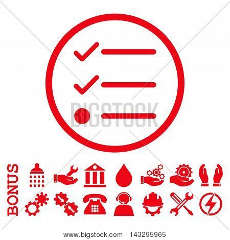 Checklist glyph icon. Image style is a flat pictogram symbol inside a circle, red color, white background. Bonus images are included.
