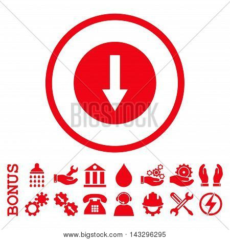 Down Rounded Arrow glyph icon. Image style is a flat pictogram symbol inside a circle, red color, white background. Bonus images are included.