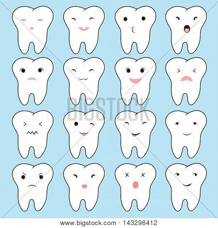 Funny vector illustration. Emotions on teeth to educate children about the care and treatment the teeth