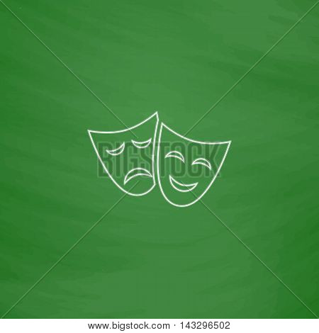 masks Outline vector icon. Imitation draw with white chalk on green chalkboard. Flat Pictogram and School board background. Illustration symbol