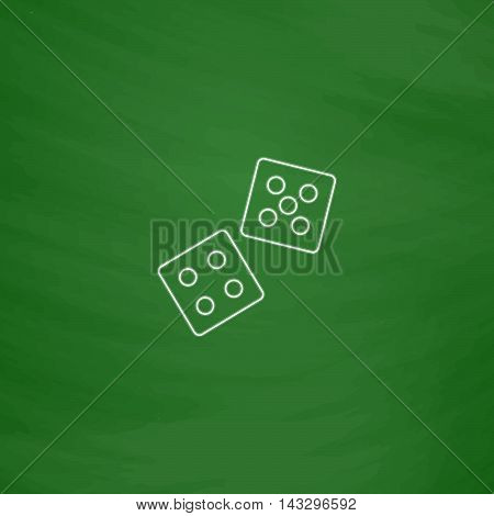 game dice Outline vector icon. Imitation draw with white chalk on green chalkboard. Flat Pictogram and School board background. Illustration symbol