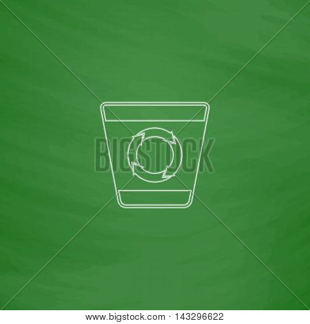 Recycle bin Outline vector icon. Imitation draw with white chalk on green chalkboard. Flat Pictogram and School board background. Illustration symbol