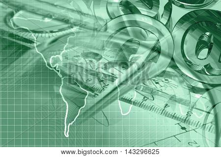 Financial background in greens with graph ruler map and mail signs.