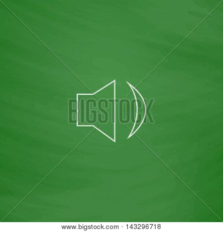 Speaker Outline vector icon. Imitation draw with white chalk on green chalkboard. Flat Pictogram and School board background. Illustration symbol