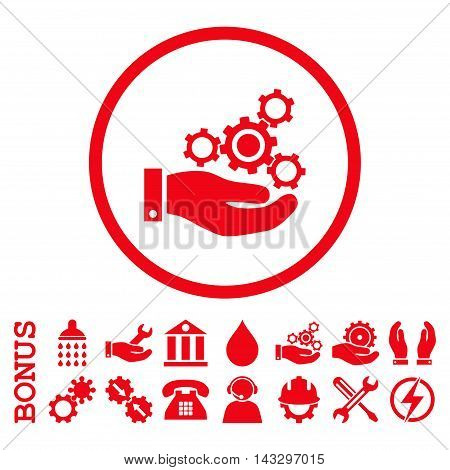 Mechanics Service glyph icon. Image style is a flat pictogram symbol inside a circle, red color, white background. Bonus images are included.