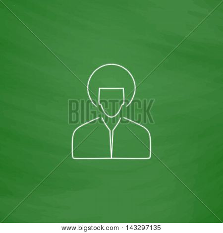 hippie man Outline vector icon. Imitation draw with white chalk on green chalkboard. Flat Pictogram and School board background. Illustration symbol