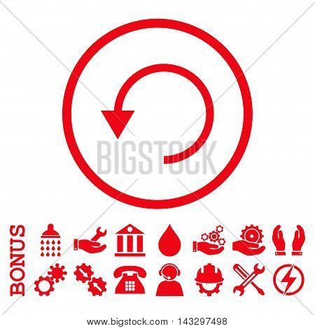 Rotate Ccw glyph icon. Image style is a flat pictogram symbol inside a circle, red color, white background. Bonus images are included.