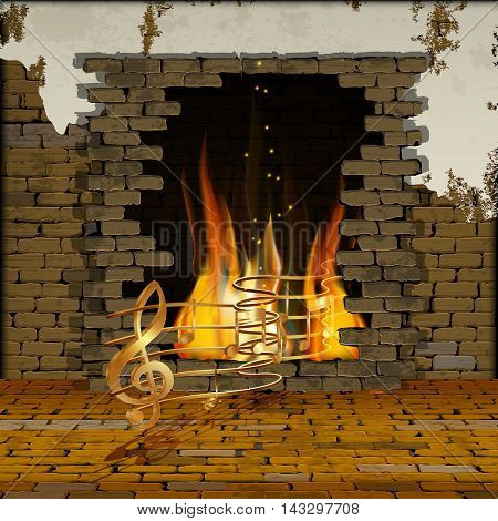 background old brick wall with a fireplace with gold musical notes out of the fire. You can use text or image.