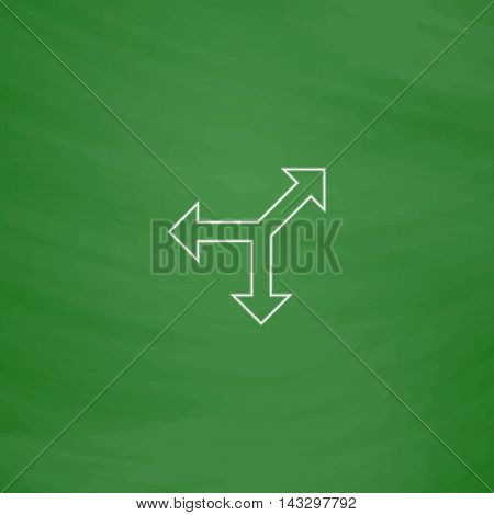 road arrow Outline vector icon. Imitation draw with white chalk on green chalkboard. Flat Pictogram and School board background. Illustration symbol