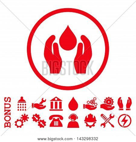 Water Care glyph icon. Image style is a flat pictogram symbol inside a circle, red color, white background. Bonus images are included.