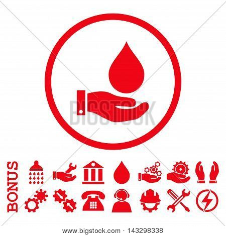 Water Service glyph icon. Image style is a flat pictogram symbol inside a circle, red color, white background. Bonus images are included.
