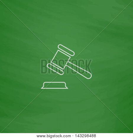 Judge gavel Outline vector icon. Imitation draw with white chalk on green chalkboard. Flat Pictogram and School board background. Illustration symbol
