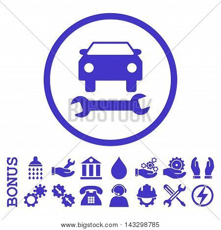Car Repair glyph icon. Image style is a flat pictogram symbol inside a circle, violet color, white background. Bonus images are included.