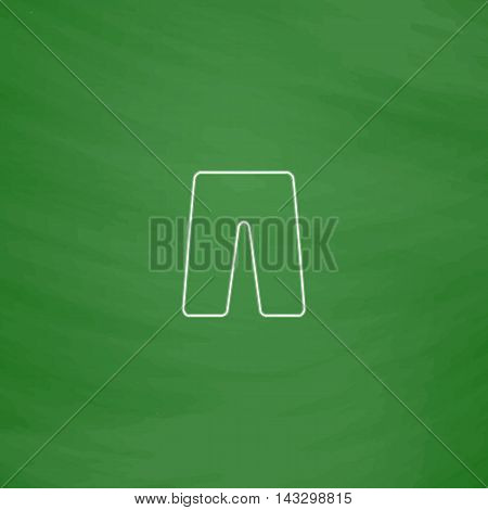 shorts Outline vector icon. Imitation draw with white chalk on green chalkboard. Flat Pictogram and School board background. Illustration symbol