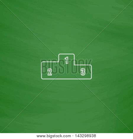 Pedestal Outline vector icon. Imitation draw with white chalk on green chalkboard. Flat Pictogram and School board background. Illustration symbol