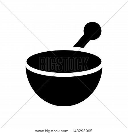 Mortar and pestle icon in simple style on a white background