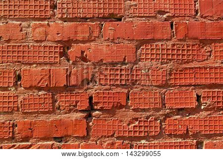 Brickwork, brick, pattern of old brick surfaced, rough brick wall, brickwall, brick house, shades of red, red brickwork, brick wall