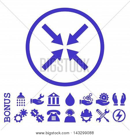 Center Arrows glyph icon. Image style is a flat pictogram symbol inside a circle, violet color, white background. Bonus images are included.