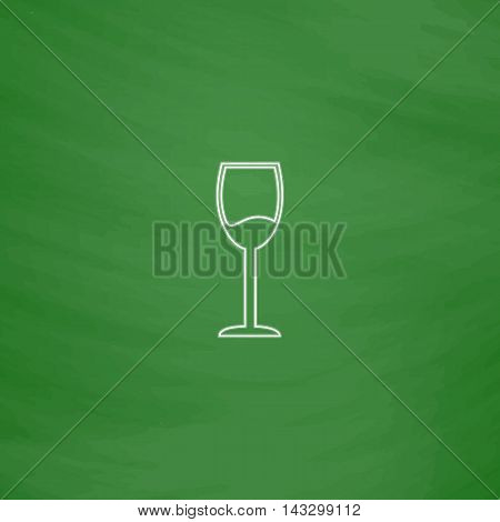 wineglass Outline vector icon. Imitation draw with white chalk on green chalkboard. Flat Pictogram and School board background. Illustration symbol