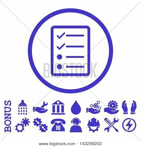 Checklist Page glyph icon. Image style is a flat pictogram symbol inside a circle, violet color, white background. Bonus images are included.