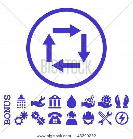 Circulation Arrows glyph icon. Image style is a flat pictogram symbol inside a circle, violet color, white background. Bonus images are included.
