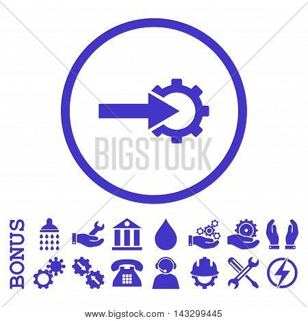 Cog Integration glyph icon. Image style is a flat pictogram symbol inside a circle, violet color, white background. Bonus images are included.