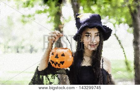 polygon photo portrait of Asian woman on black dress and holding plastic pumpkin doll in garden