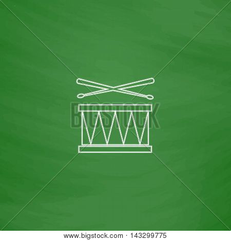 Drum Outline vector icon. Imitation draw with white chalk on green chalkboard. Flat Pictogram and School board background. Illustration symbol