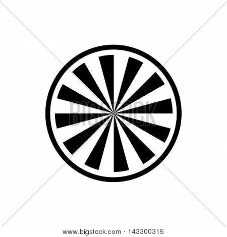 Circle with radial rays icon in simple style on a white background
