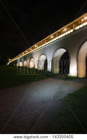 Old White Stone Bridge In The Park