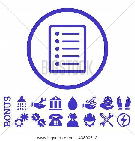List Page glyph icon. Image style is a flat pictogram symbol inside a circle, violet color, white background. Bonus images are included.