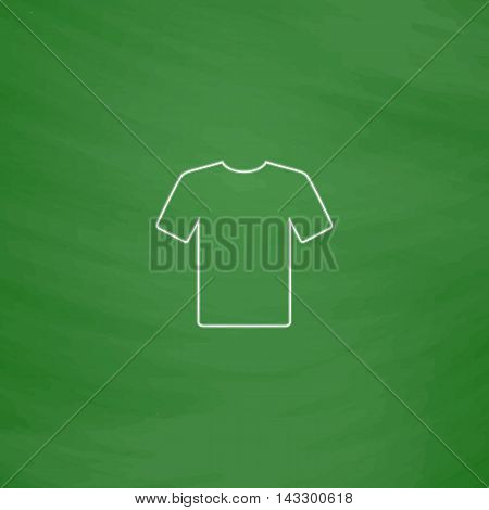 t-shirt Outline vector icon. Imitation draw with white chalk on green chalkboard. Flat Pictogram and School board background. Illustration symbol
