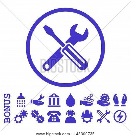 Options glyph icon. Image style is a flat pictogram symbol inside a circle, violet color, white background. Bonus images are included.