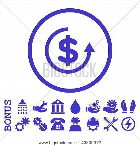 Refund glyph icon. Image style is a flat pictogram symbol inside a circle, violet color, white background. Bonus images are included.