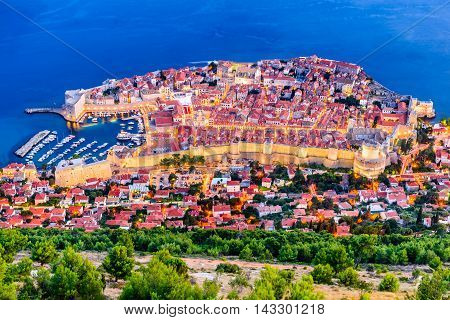 Dubrovnik Croatia. Spectacular twilight picturesque view on the old town of Dubrovnik Ragusa on Dalmatian Coast.