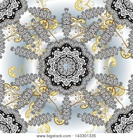 Hand drawn floral seamless pattern with white mandala and golden elements. Vector illustration