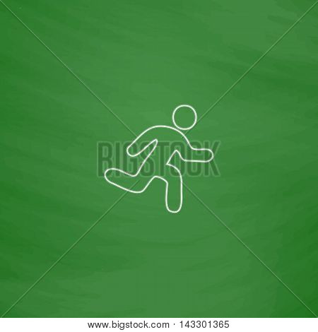 Running Outline vector icon. Imitation draw with white chalk on green chalkboard. Flat Pictogram and School board background. Illustration symbol