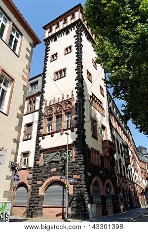 The south wing and a tower of the Old Town Hall on Buchgasse and Limpurgergasse streets in Frankfurt am Main Germany. The entire building complex consists of nine houses encircling six courtyards.