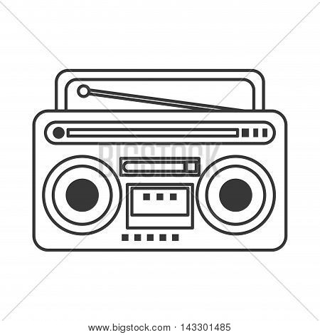 flat design classic boombox icon vector illustration