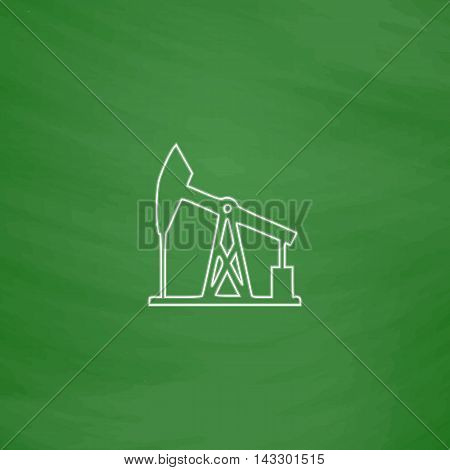 oil pump Outline vector icon. Imitation draw with white chalk on green chalkboard. Flat Pictogram and School board background. Illustration symbol